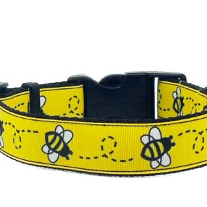 bee print dog collar