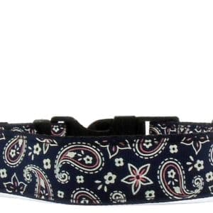 navy paisley dog collar