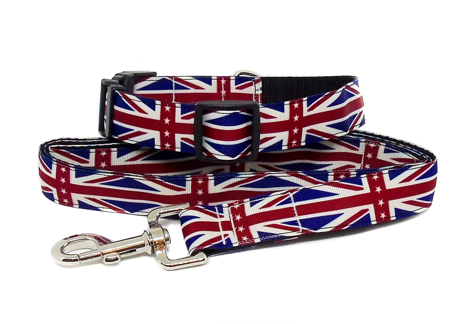 union jack collar and lead