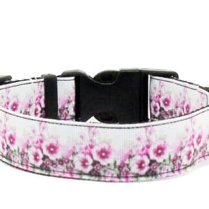 pink and white floral dog collar