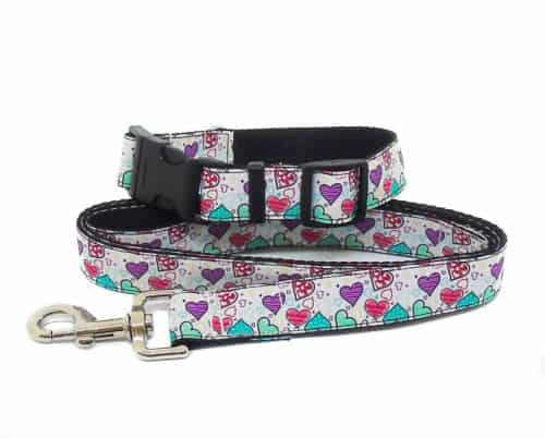 hearts collar and lead set
