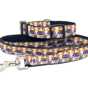 orange aztec collar and lead