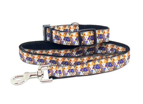 orange aztec collar and lead