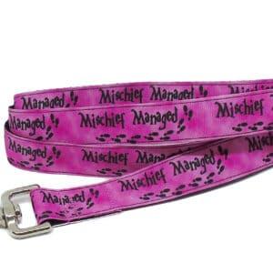 pink mischief dog lead