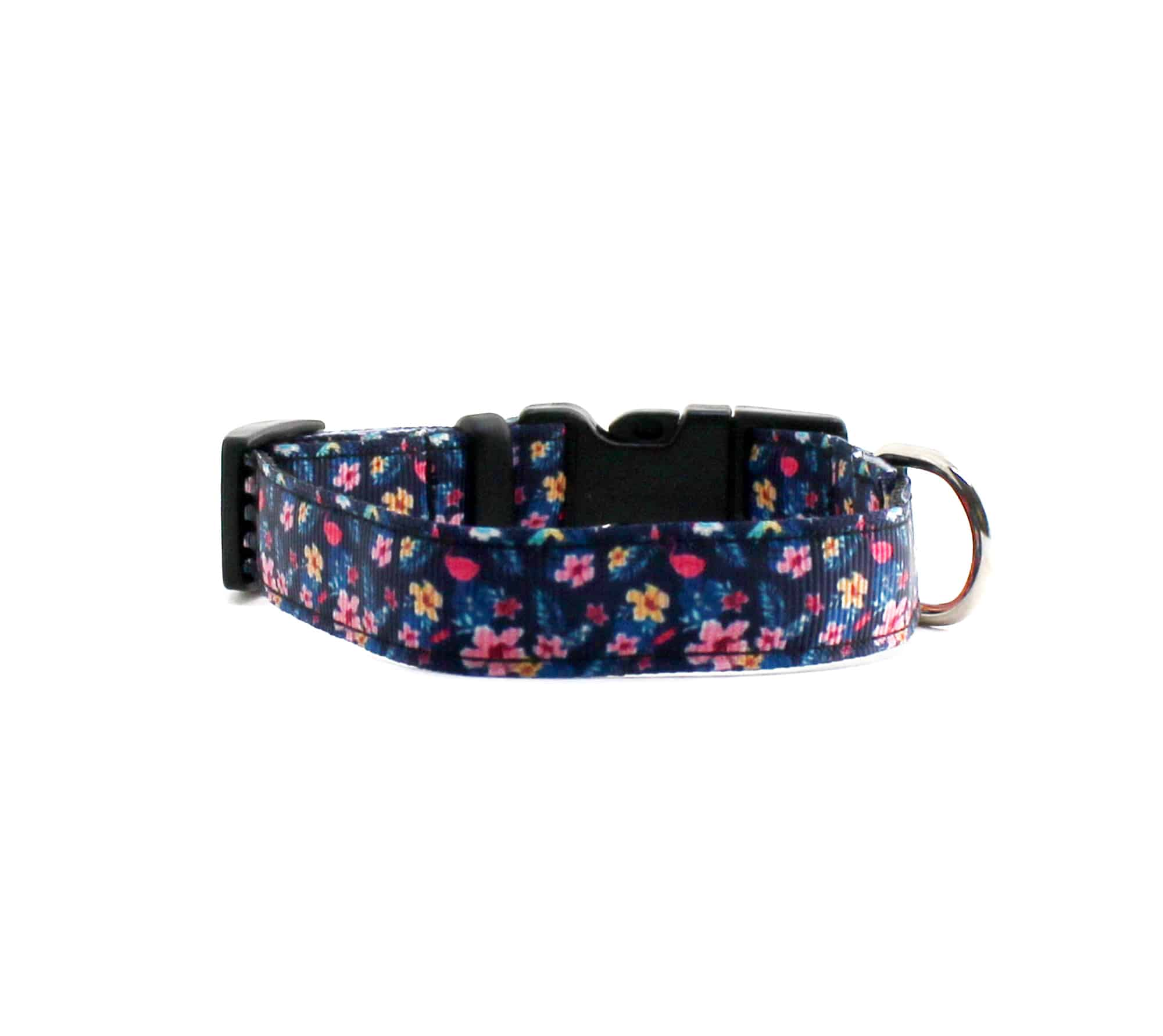 navy floral cat collar