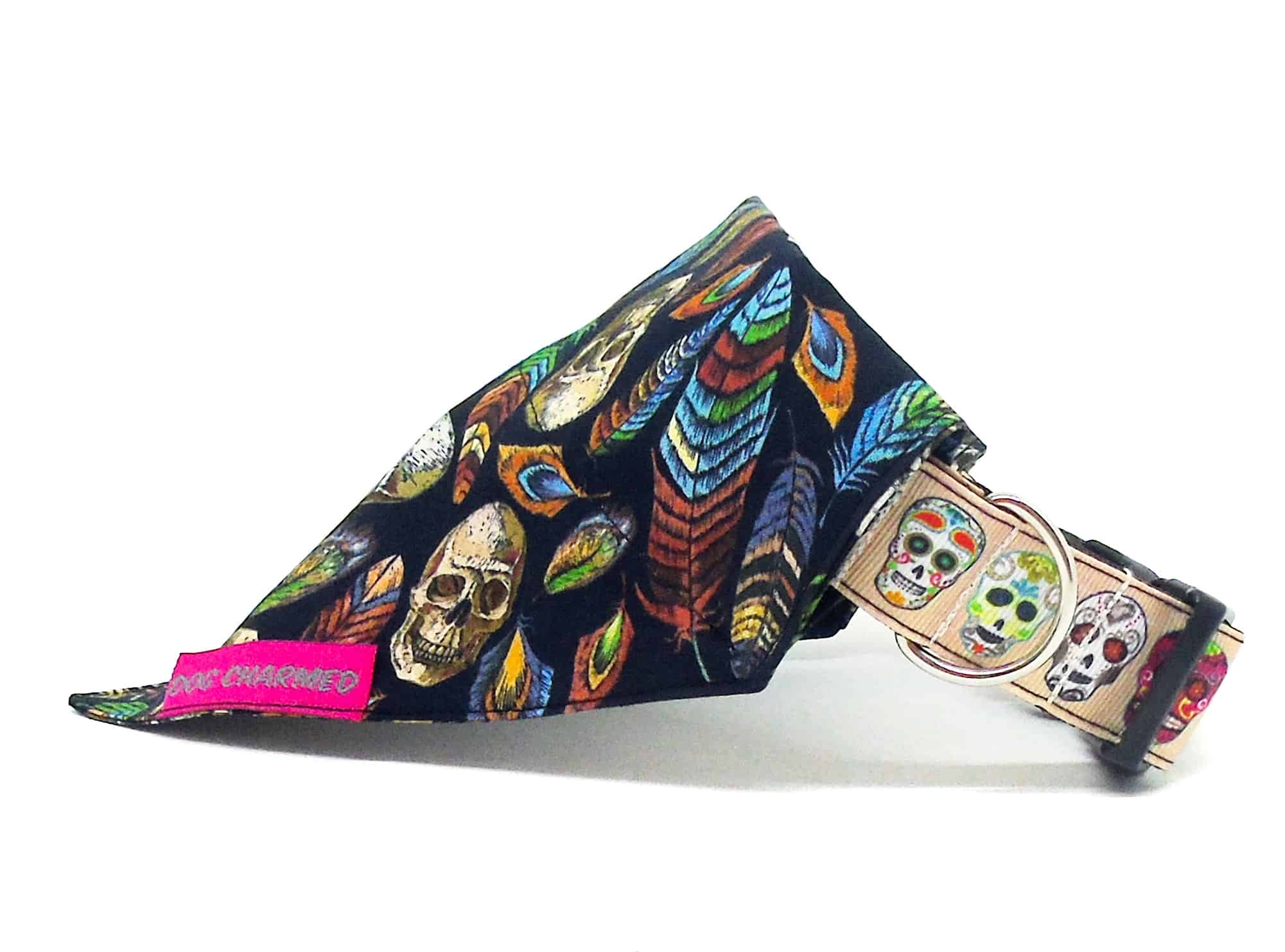 skulls and feathers bandana