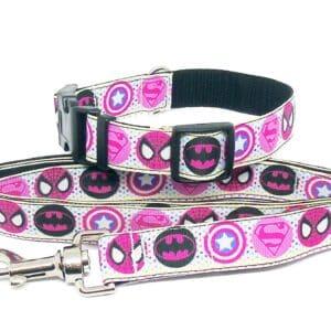pink superhero collar and lead