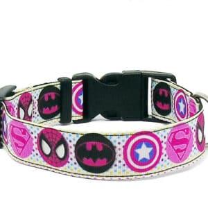 pink superhero dog collar
