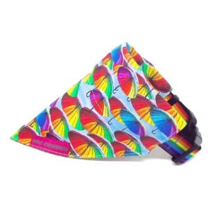 Rainbow umbrella dog bandana