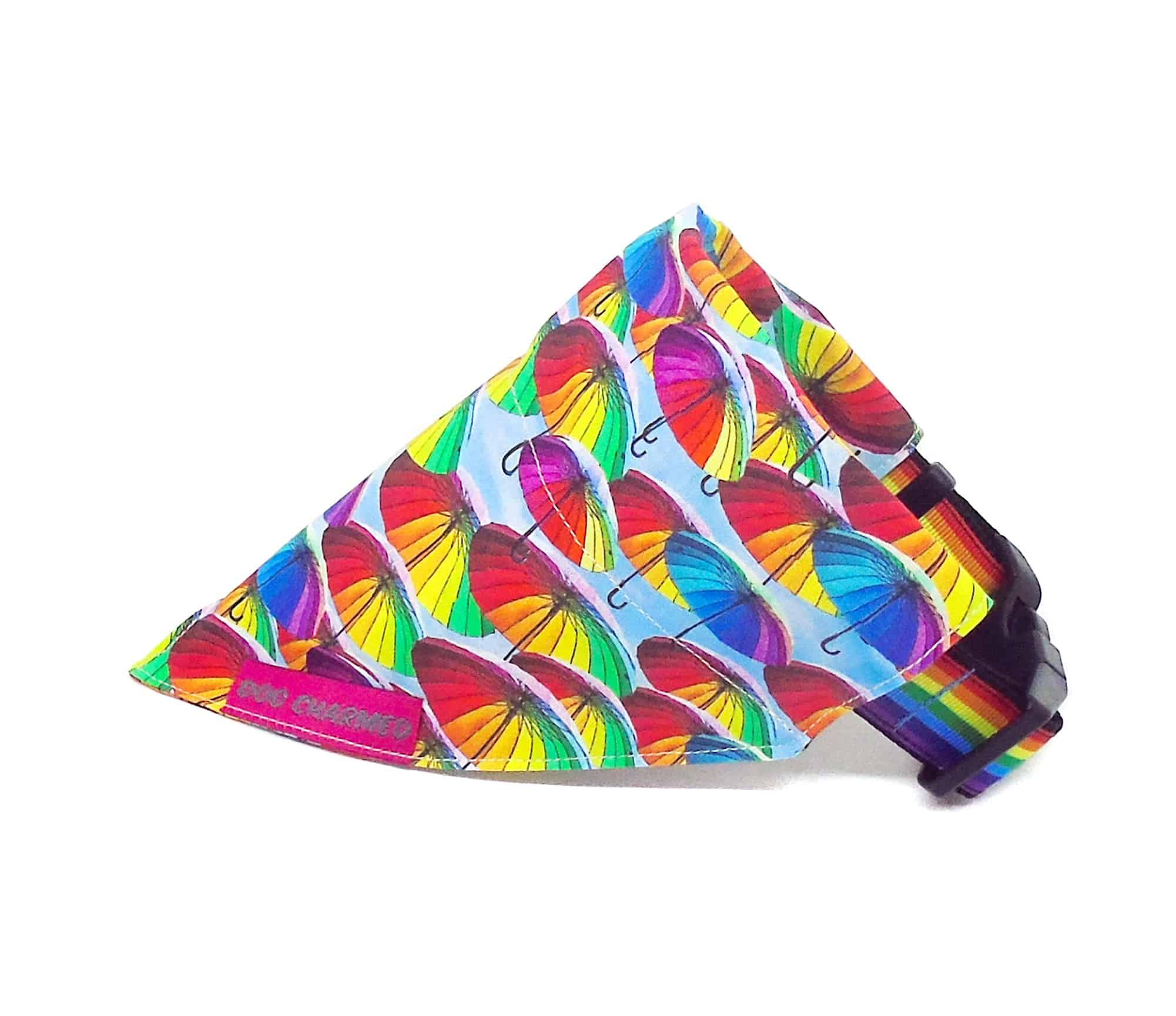 Rainbow umbrella dog bandana