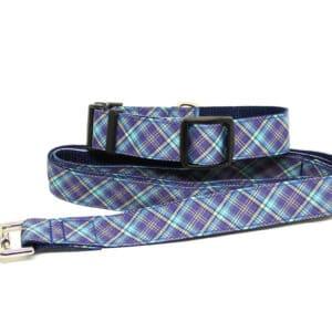 blue and grey tartan collar and lead set