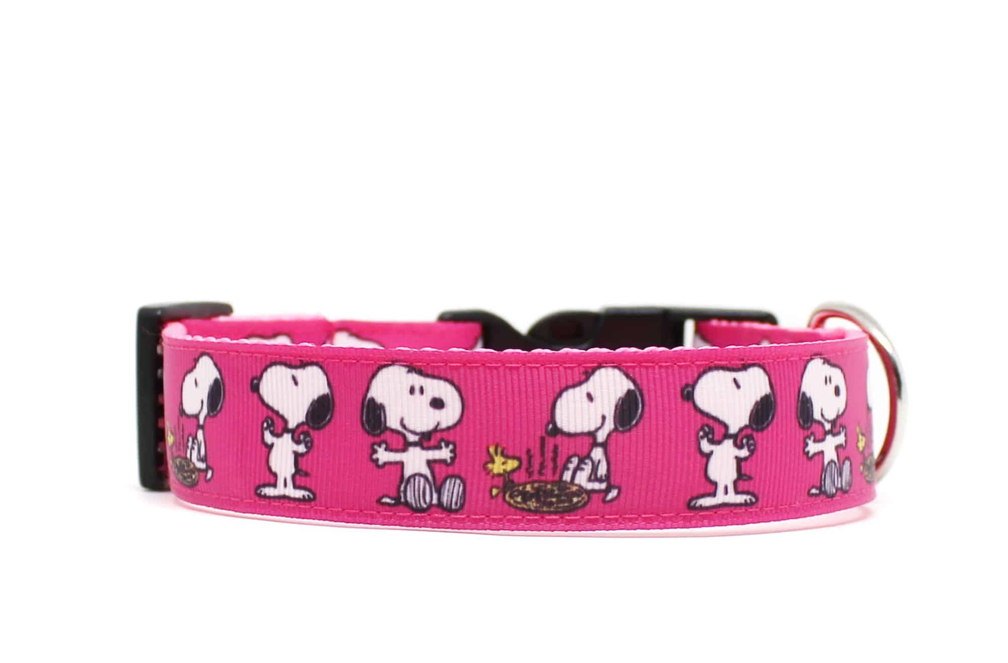 pink snoopy dog collar