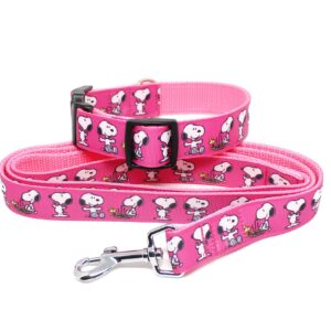 pink snoopy collar and lead set
