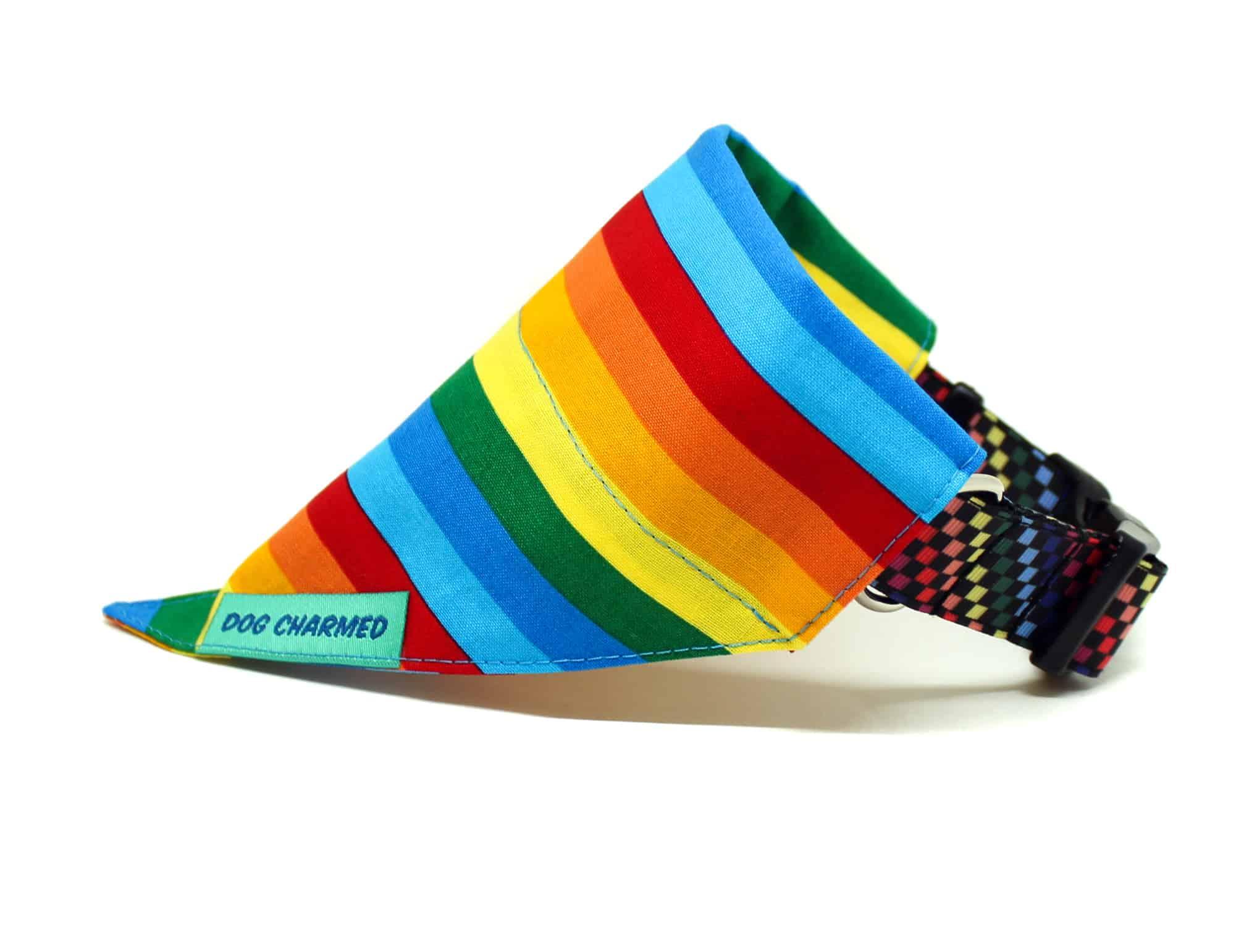 rainbow stripes dog bandana